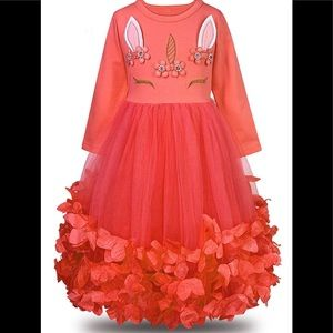 Other - Unicorn Flower Petal Tutu Princess Dress - Red